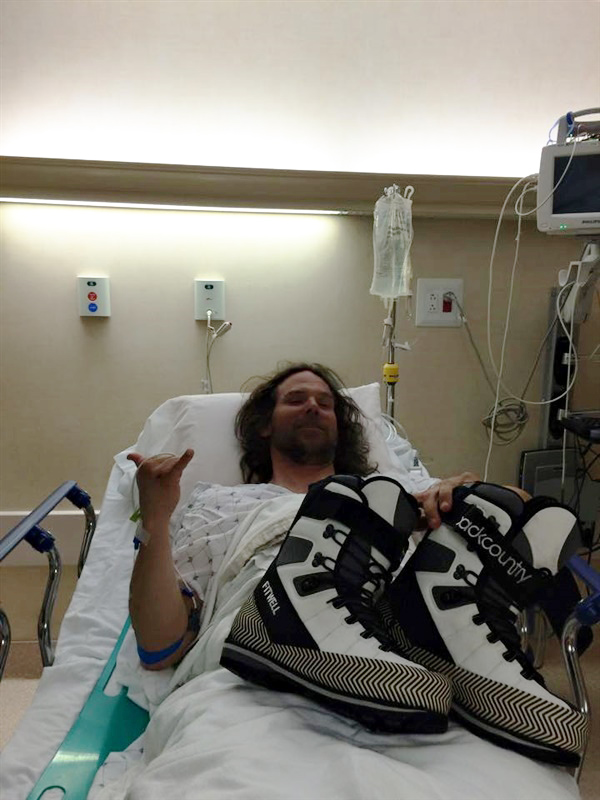 Boots with Hairy Dude in Hospital Bed